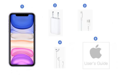 Apple iPhone 11, contenu du coffret.