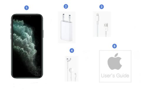 Apple iPhone 11 Pro Max, contenu du coffret.