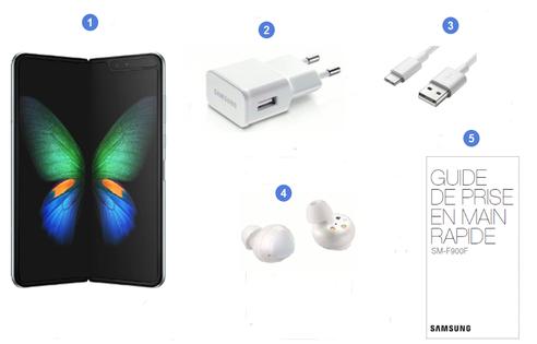 Samsung Galaxy Fold, contenu du coffret.
