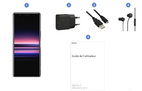Sony Xperia 5, contenu du coffret.