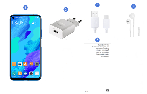 Huawei Nova 5T, contenu du coffret.