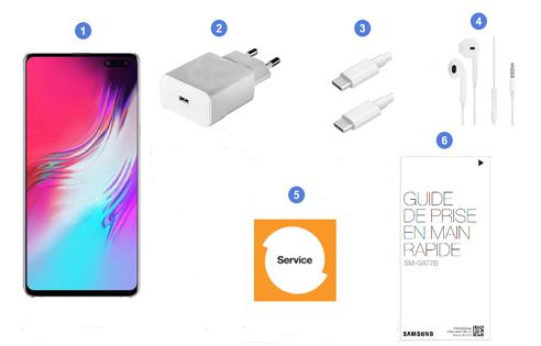 Samsung Galaxy S10 5G, contenu du coffret.