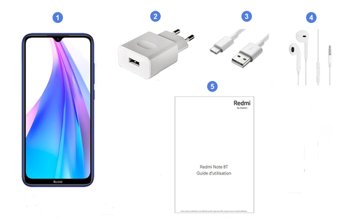 Xiaomi Redmi Note 8T, contenu du coffret.