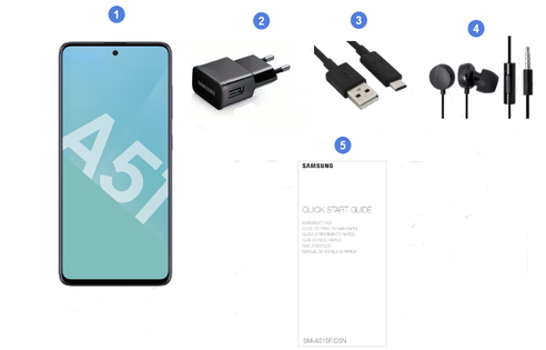 Samsung Galaxy A51, contenu du coffret.