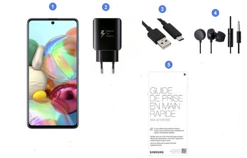 Samsung Galaxy A71, contenu du coffret.