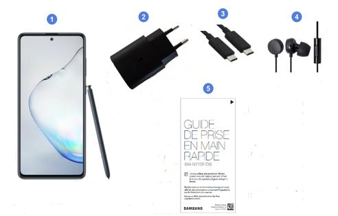 Samsung Galaxy Note 10 Lite, contenu du coffret.