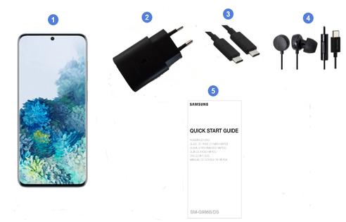 Samsung Galaxy S20+ 5G, contenu du coffret.