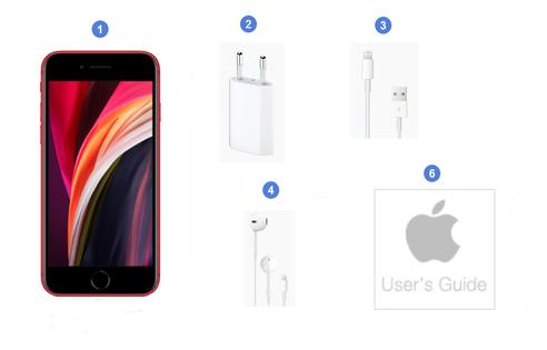 Apple iPhone SE 2020, contenu du coffret.