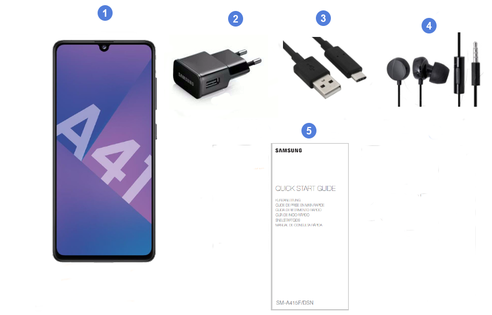 Samsung Galaxy A41, contenu du coffret.