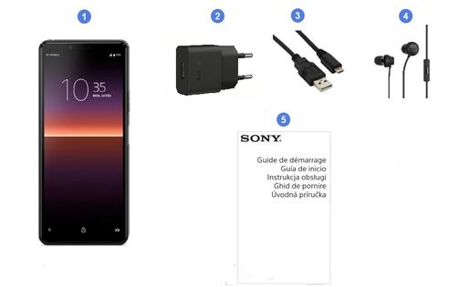 Sony Xperia 10 II, contenu du coffret.
