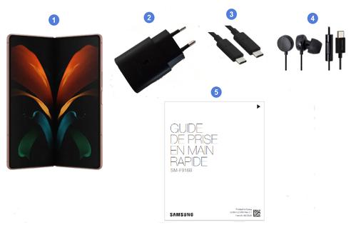 Samsung Galaxy Z Fold2 5G, contenu du coffret.