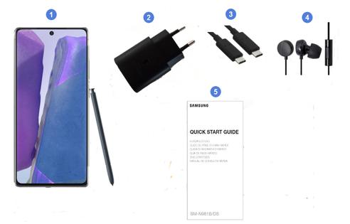 Samsung Galaxy Note 20 5G, contenu du coffret.