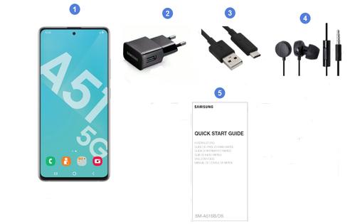 Samsung Galaxy A51 5G, contenu du coffret.