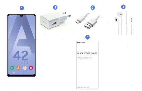 Samsung Galaxy A42 5G, contenu du coffret.