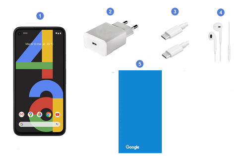 Google Pixel 4a, contenu du coffret.
