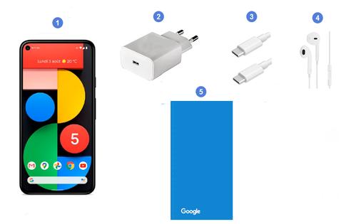 Google Pixel 5 5G, contenu du coffret.