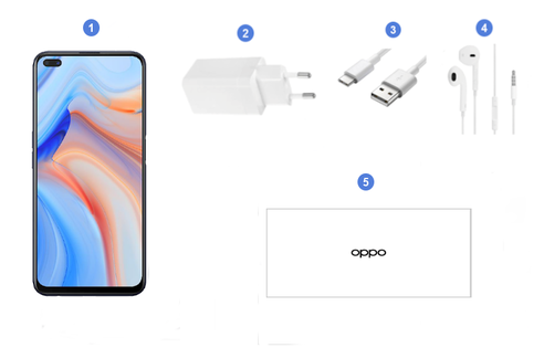 Oppo Reno 4Z 5G, contenu du coffret.