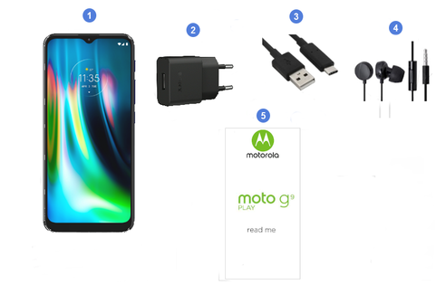 Motorola Moto G9 Play, contenu du coffret.