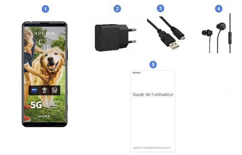 Sony Xperia 5 II 5G, contenu du coffret.