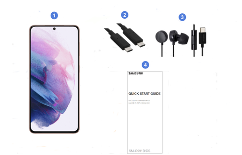 Samsung Galaxy S21 5G, contenu du coffret.