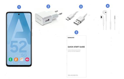Samsung Galaxy A52 5G, contenu du coffret.