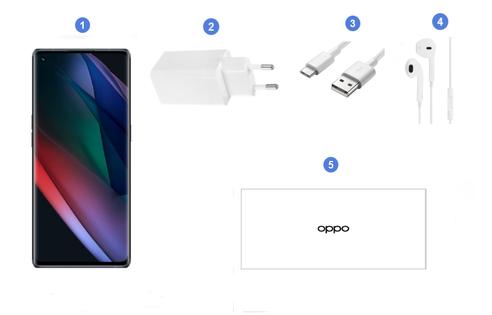 Oppo Find X3 Neo 5G, contenu du coffret.