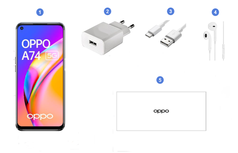 Oppo A74 5G, contenu du coffret.
