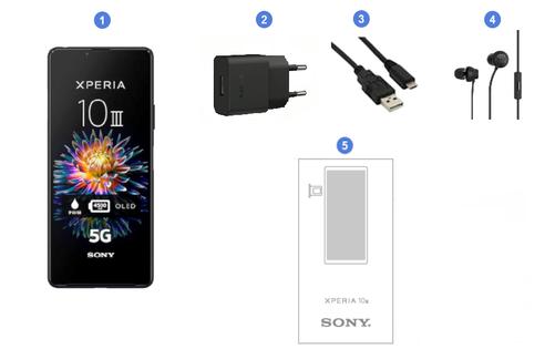 Sony Xperia 10 III 5G, contenu du coffret.