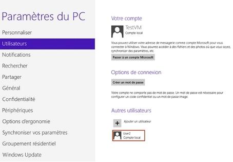 Windows 8 : fenêtre mettant en avant la liste des comptes utilisateurs