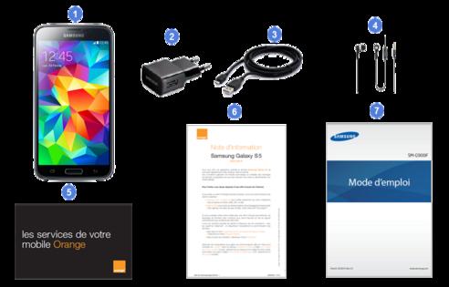 Samsung Galaxy S5, contenu du coffret