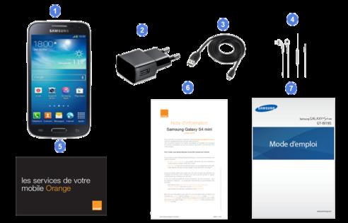 Samsung Galaxy S4 mini, contenu du coffret.