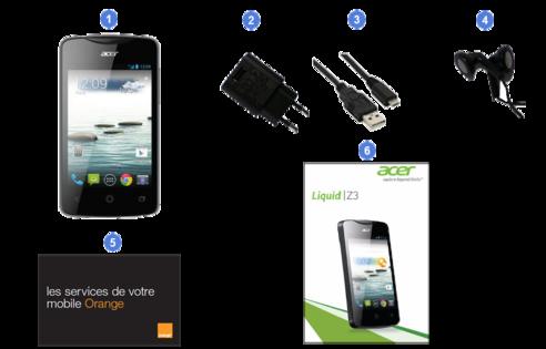 Acer Liquid Z3, contenu du coffret.
