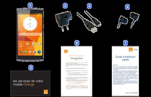 Alcatel Orange Nura, contenu du coffret.