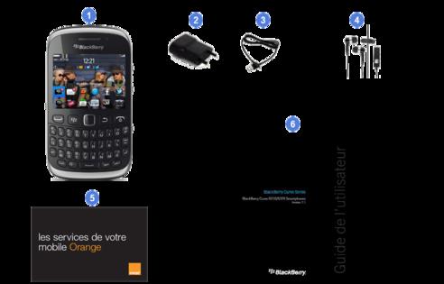 Blackberry curve 9320, contenu du coffret.