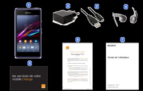 Sony Xperia E1, contenu du coffret.