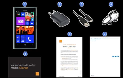 Nokia lumia 925, contenu du coffret.