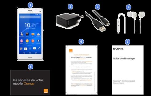 Sony xperia z3 compact, contenu du coffret.