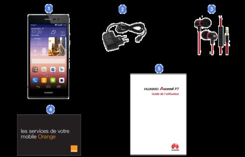 Huawei ascend p7, contenu du coffret.
