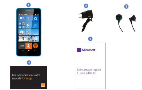 microsoft lumia 640, contenu du coffret.