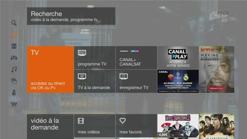 Ecran d'accueil TV décodeur Livebox Play