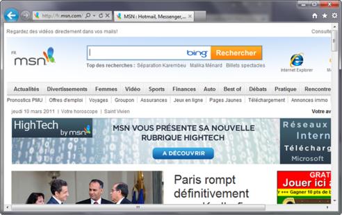 Page d'accueil d'Internet Explorer 9