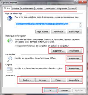 Présentation de l'onglet Général du menu Options Internet