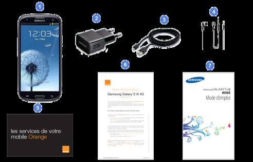 Samsung Galaxy S3 4G, contenu du coffret.