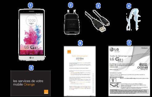 lg g3s, contenu du coffret.