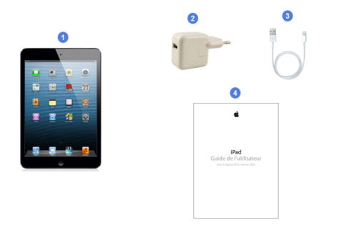 apple ipad mini, contenu du coffret.