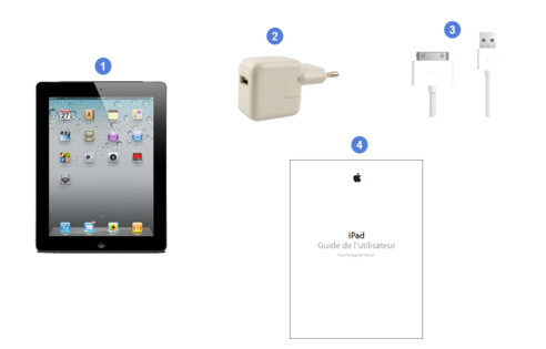 apple ipad wifi, contenu du coffret.