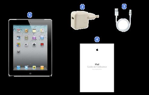 apple ipad2 wifi 3g, contenu du coffret.