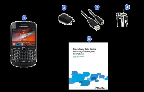 blackberry bold 9900, contenu du coffret.